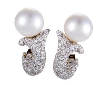 真珠・ダイヤのイヤリング