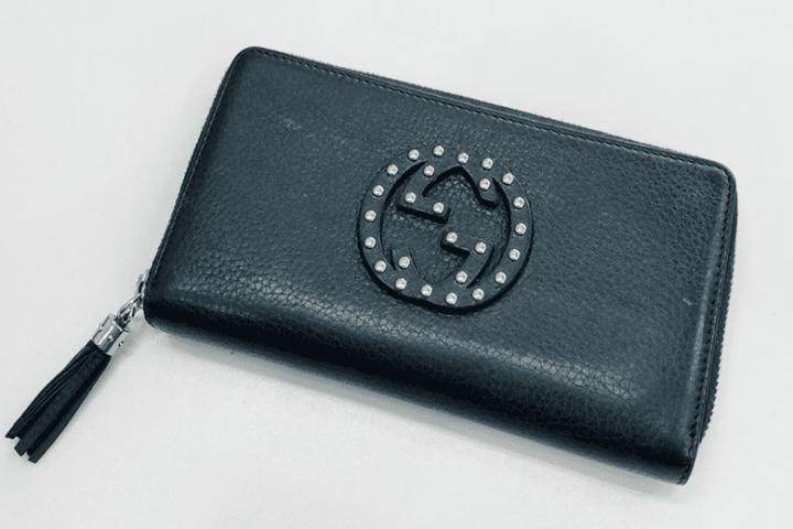 都島店にて擦れ、汚れありのグッチラウンドファスナー長財布を買取