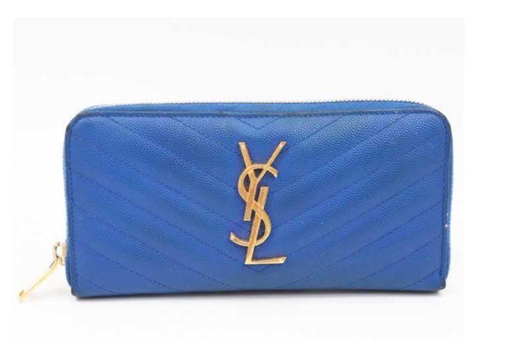 ブランドハンズ枚方ビオルネ店にてイヴサンローランのVステッチ ラウンドファスナー長財布を高価買取